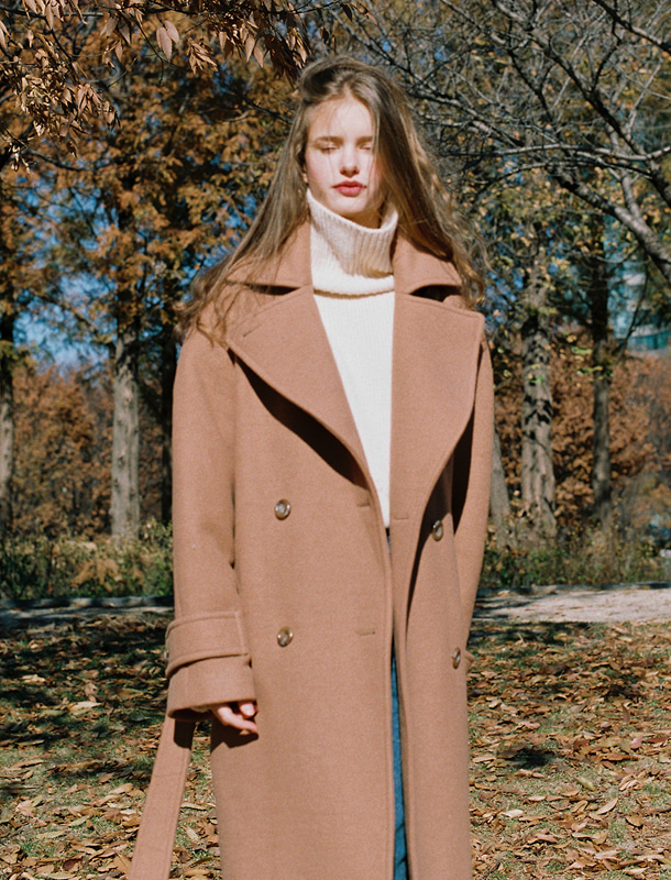DOUBLE WOOL LONG COAT CAMEL