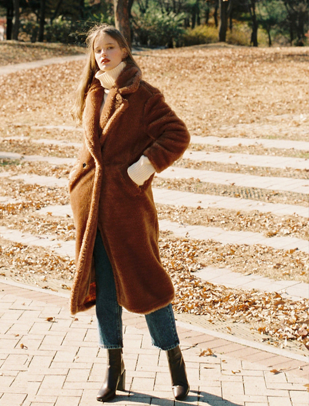 FAKE FUR LONG COAT BROWN