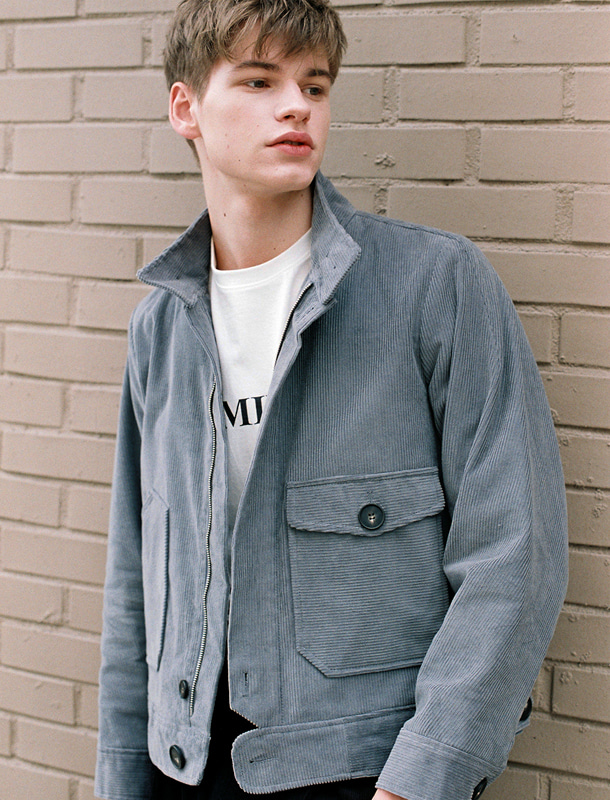 CORDUROY BOMBER JACKET BLUE GREY (MEN)