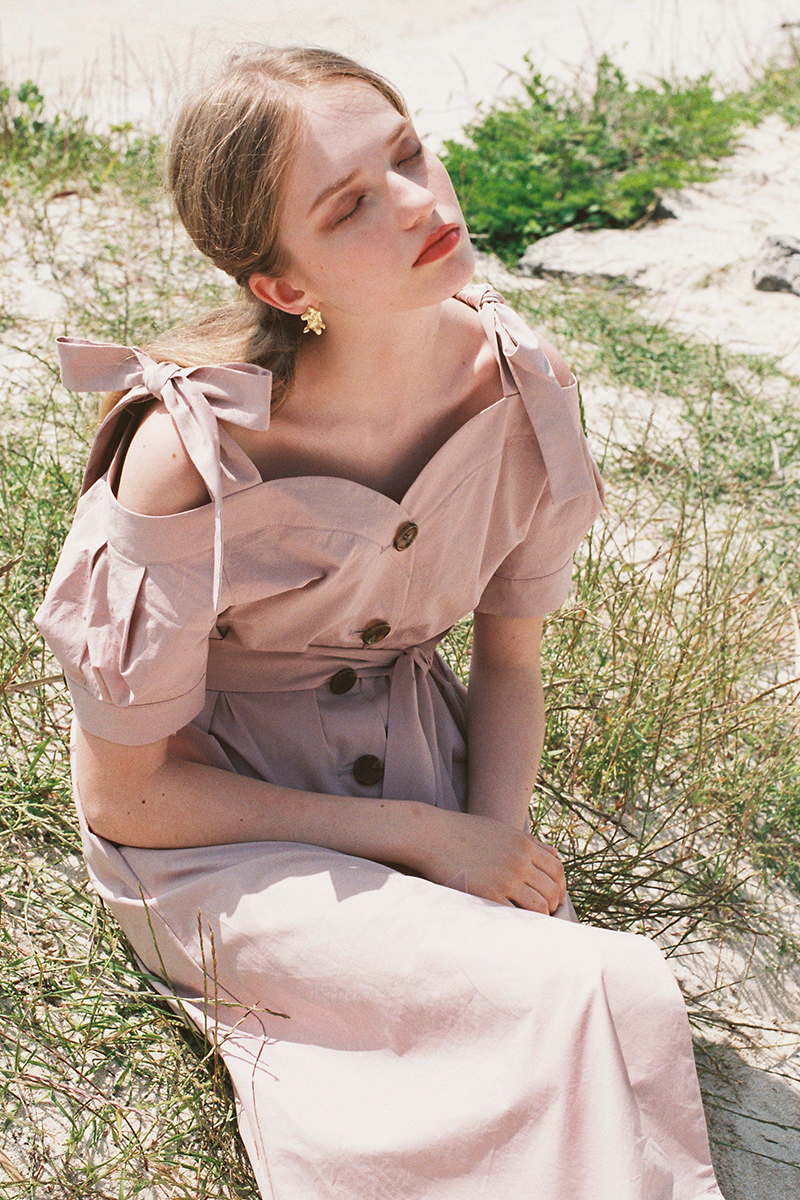 OFF-SHOULDER PUFF DRESS DUSTY PINK