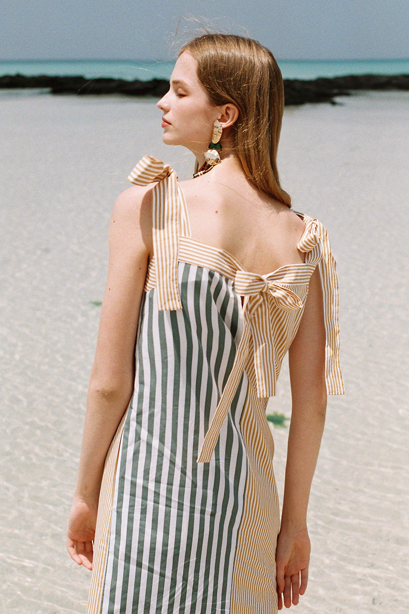 STRIPE BICOLOR DRESS GREEN-MUSTARD