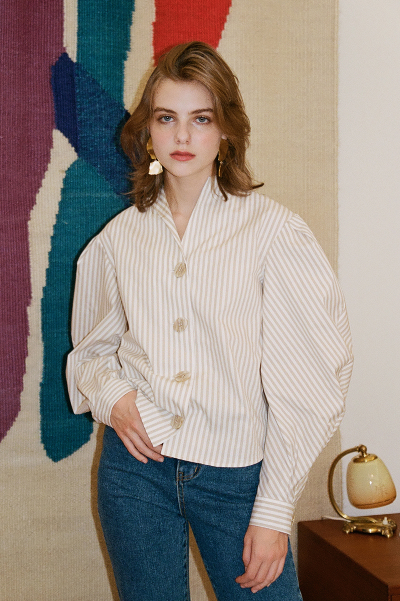 STRIPE VOLUME SHIRT  BEIGE