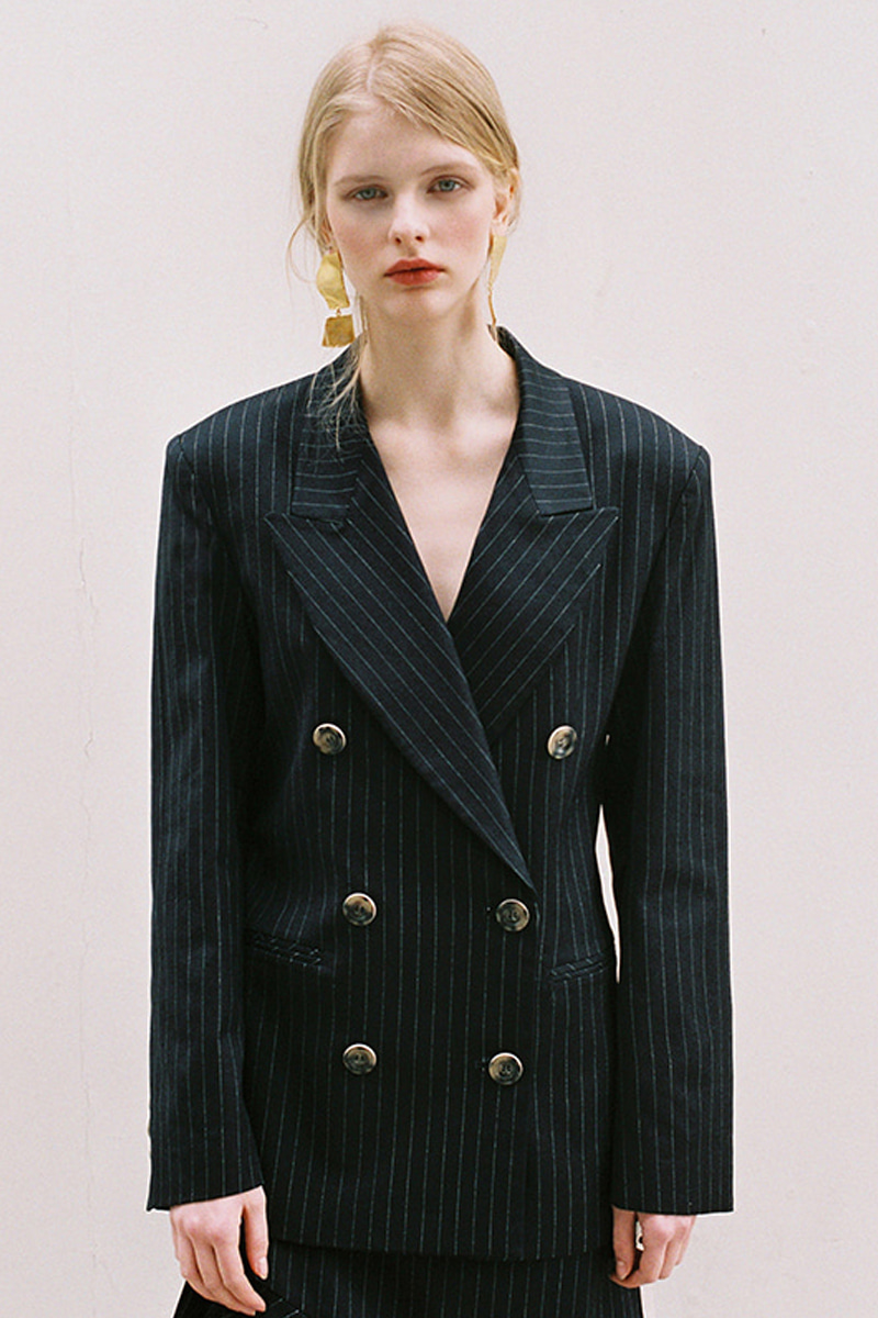 PINSTRIPE DOUBLE JACKET NAVY
