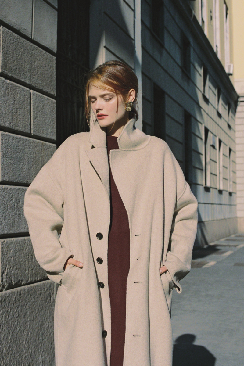 CASHMERE HANDMADE LONG COAT OATMEAL