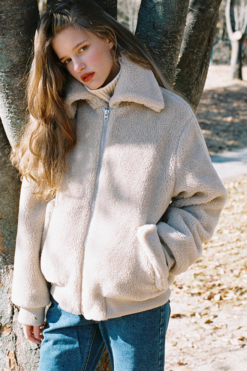 FAKE WOOL FUR BOMBER JACKET BEIGE
