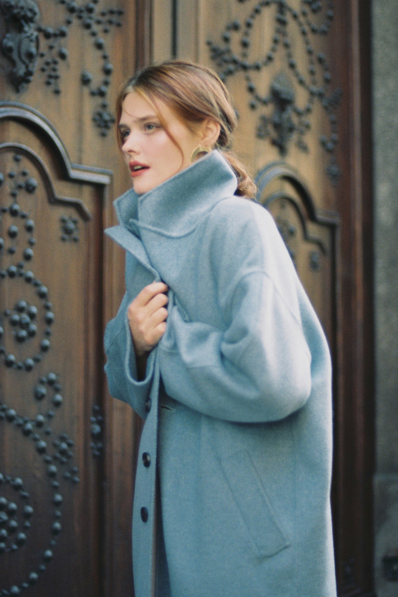 CASHMERE HANDMADE LONG COAT SKY BLUE