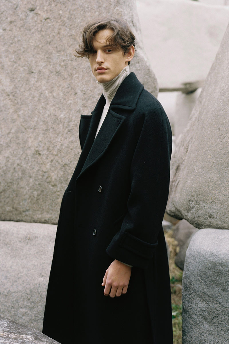 DOUBLE WOOL LONG COAT BLACK (MEN)