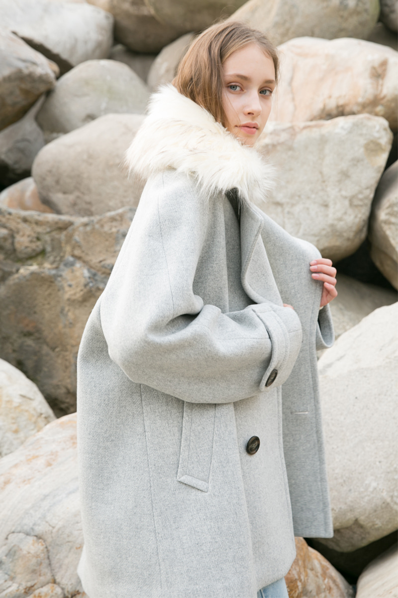 [Italian wool] A-LINE HALF COAT GREY