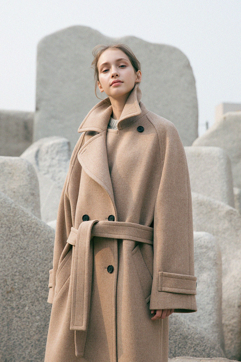 DOUBLE WOOL LONG COAT OATMEAL (WOMEN)