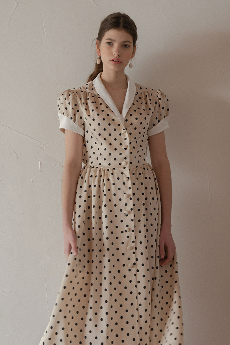 HEPBURN POLKA DOT DRESS BEIGE