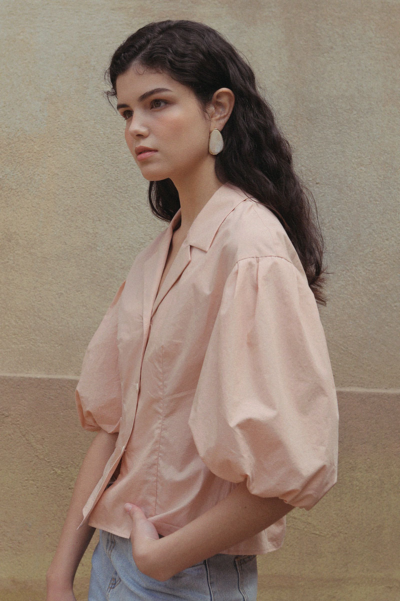 VERNI PUFF SLEEVE BLOUSE BLUSH PINK