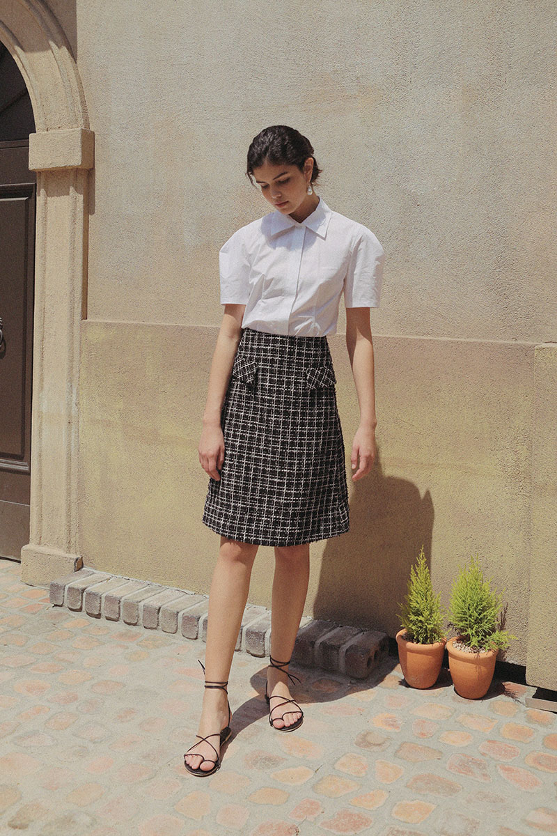 TWEED A-LINE SKIRT BLACK