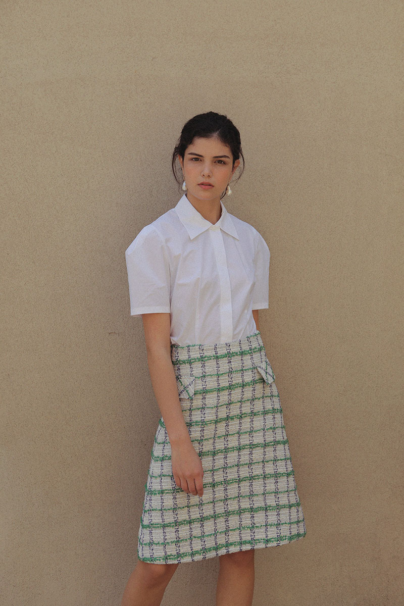 TWEED A-LINE SKIRT GREEN
