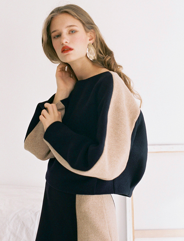 [Italian wool] VOLUME TOP NAVY