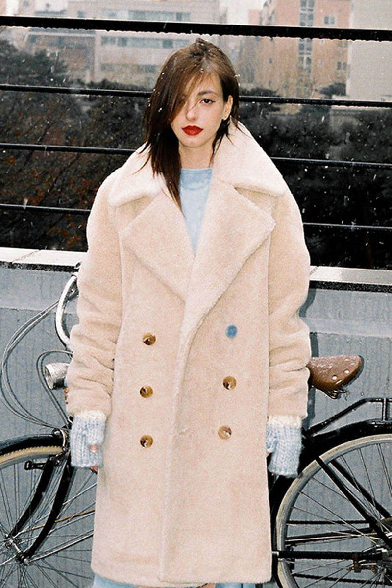 FAKE WOOL FUR COAT BEIGE
